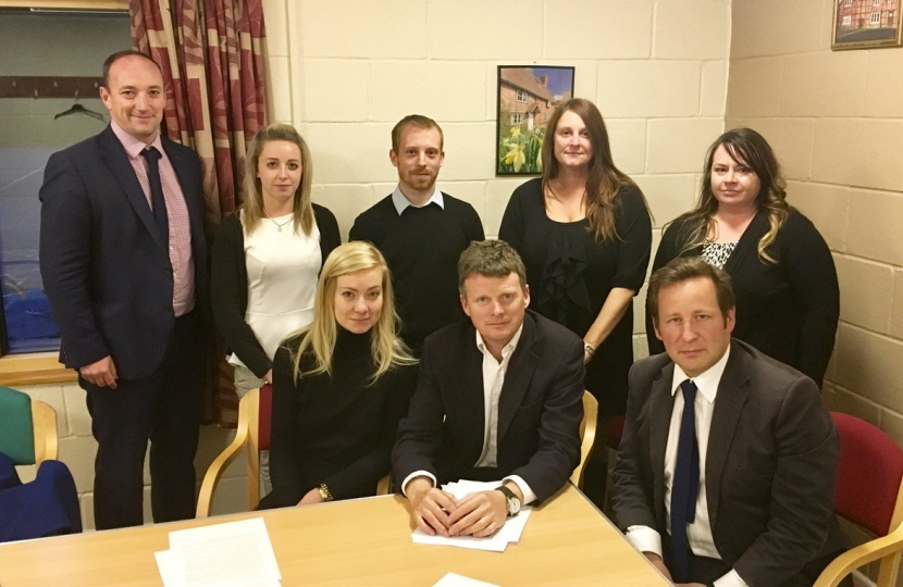 seated L to R Nicola Blackwood, Richard Benyon and Ed Vaizey; standing L to R members of the A34 Action Group Andy Williams, Meg Williamson, Alisdair Cunningham, Oonagh Williams and Cathryn Millward.