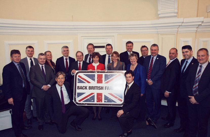 Richard Benyon MP, left, with other attendees at the NFU #backbritishfarming event