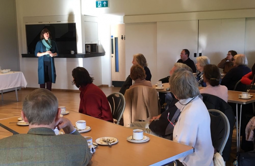 Claire Perry speaking at West Berkshire CWO coffee morning